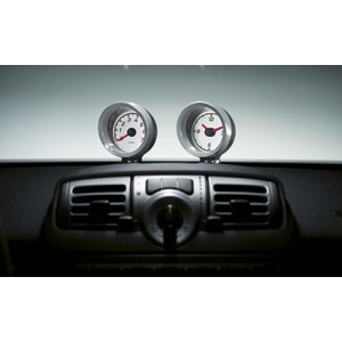 smart car instrument pods tach and clock 2011 and on with trim rings in silver gray. Black Bedroom Furniture Sets. Home Design Ideas